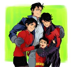 I love how Jason is so much taller than all of them - Nightwing / Dick Grayson, Red Hood / Jason Todd, Red Robin / Tim Drake & Robin / Damian Wayne Nightwing, Batgirl, Batwoman, Tim Drake, Damian Wayne, Batman Y Superman, Batman Robin, Batman Arkham, Batman Art