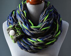 READY TO SHIP Arm Knit Scarf - Seahawks Inspired