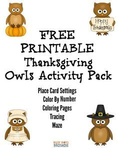 Get ready for the holidays with this FREE printable Thanksgiving Owls Activity Pack. Super cute way to keep the kids busy with making place cards, coloring pages, & more!