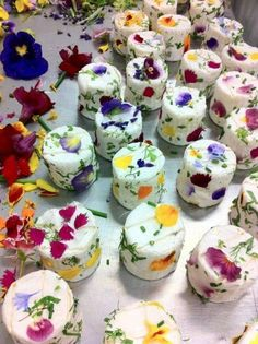 Colourful edible flowers in chevre (goat's cheese)
