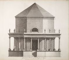 Adam, Robert, 1728-1792 / Ruins of the palace of the Emperor Diocletian at Spalatro in Dalmatia  (1764)    Plate XXIX. Geometrical elevation of the Temple of Jupiter,   p. Plate XXIX