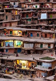 Masuleh, Iran (streets are built on top of the roofs)