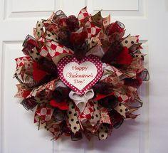 Happy Valentine's Day Wreath,Valentine Mesh Wreath,Valentines Burlap Wreath,Valentine's Day Gift by CherylsCrafts1 on Etsy