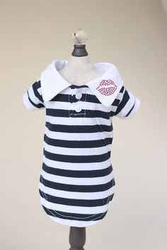 """Striped cotton """"Lips"""" Dog Polo features cute collar with button up top and sparkling rhinestone """"Lips"""" applique. Small Dog Sweaters, Small Dog Clothes, French Bulldog Clothes, White Lips, Animal Fashion, Dog Shirt, Navy Stripes, Sweater Jacket, Dog Outfits"""