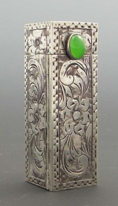 Vintage silver lipstick case with jade clasp (mid century) & mirror. via Crescent City Antique Gallery