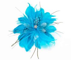 Fun Turquoise Flower Shaped Feather Hair Clip