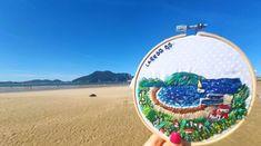 Bordado a mano de la playa de la Salvé en la villa de Laredo, Cantabria