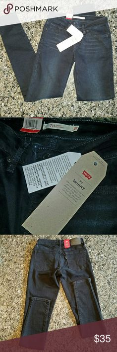 """Levi's 711 Skinny Jeans New Levi's Skinny 711 Jean in Black  Midrise that is slim through hips and thighs Designed to flatter, hold and lift, all day every day!  Have size 25 in a washed out black/gray, I'm the Super Skinny! Will bundle any items! Lots of 25 Hudson's and some Joe's and Paige Jeans!!  Rise approximately 7.5"""" Inseam approximately 29"""" Flat waist approximately 12"""" Levi's Jeans Skinny"""