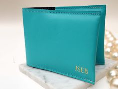 Turquoise Blue Leather Cardholder with Gold Initials, Leather Card holder, Leather Cardholder, Leather Card Case, Leather Card Wallet, gold by stabo on Etsy