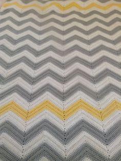 Large gray white and yellow chevron afghan by HolliesHobbyShop, $112.00