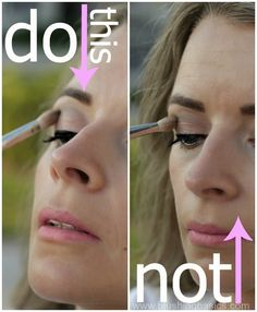 The easiest way to both find your crease and control the color? When applying, tilt your head up and look down into the mirror. | 19 Useful Tips For People Who Struggle With Eyeshadow