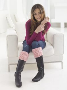 For the perfect Valentine's gift for shoe lovers, knit these stylish boot cuffs made with Vanna's Choice®.