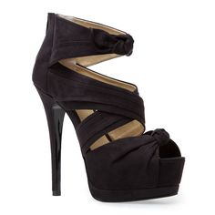 "True to size  DESCRIPTION:  Soft faux-suede platform bootie sandal with crisscrossing straps, accent bow and back zip  PLATFORM:  2"" platform*  HEEL HEIGHT:  Outside: 5.75""*; inside: 4.5""; feels like: 3.75"" heel*  COLOR:  Black"