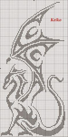 Филейное вязание. Дракон. Подборка схем