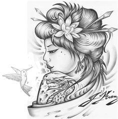 Geisha/ Hummingbird tattoo.