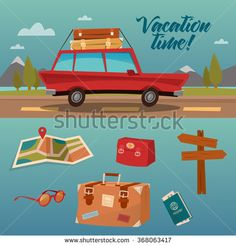 Family Vacation Time. Active Summer Holidays by Car. Vector illustration