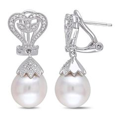 #Spring #AdoreWe #Zales - #Zales 10.0 - 10.5mm Baroque Cultured Freshwater Pearl and 1/20 CT. T.w. Diamond Vintage-Style Drop Earrings in Sterling Silver - AdoreWe.com