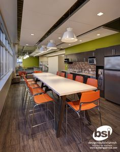 One of two work lounges can be found in the new BSI Corporate Office.  This serves as a place for employees and visitors to have a bite to eat, collaborate, or hav