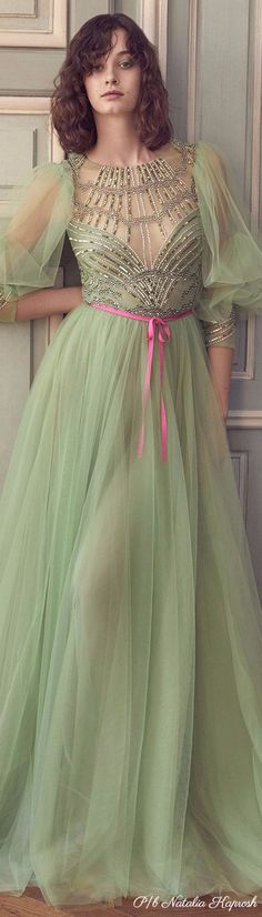 Green Fashion, Spring Fashion, Pretty Dresses, Beautiful Dresses, Prom Dresses, Formal Dresses, Monique Lhuillier, Tulle Lace, Classy Women