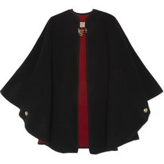 Burberry Double-faced wool & cashmere cape ($1,145) ❤ liked on Polyvore featuring outerwear, red cape coat, woolen cape, cashmere capes, burberry and wool capes