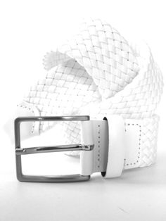 Men's belt with nylon and leather accents in white. Also available in brown.