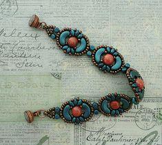 Linda's Crafty Inspirations: Bracelet of the Day: Tweaked Jolie Band - Petrol & Gold Luster