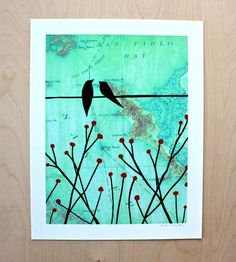 Birds & San Pablo Map Print | Art Prints | Rachel Austin | Scoutmob Shoppe | Product Detail