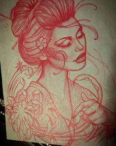Jeff Norton Tattoo — Geisha sketch for todays tattoo. Geisha Tattoos, Geisha Tattoo Design, Tattoos Motive, New Tattoos, Girl Tattoos, Future Tattoos, Bodysuit Tattoos, Dragon Tattoos, Temporary Tattoos