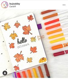 Inspiration for Autumn Bullet Journal pages. If you love bullet journaling, there are tons of amazing fall bullet journal ideas you can use on your cover pages, weekly & monthly spreads and calendar layouts. Bullet Journal Première Page, Bullet Journal Weekly Spread, Autumn Bullet Journal, Bullet Journal Headers, Bullet Journal Themes, Bullet Journal Inspiration, Journal Ideas, Patrick Nagel, Cover Pages