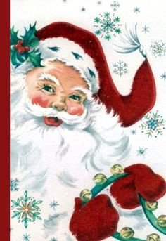 Retro Christmas cards, printed with envelopes, blank card, 5.5 by 4.25 inches, old fashioned Santa C