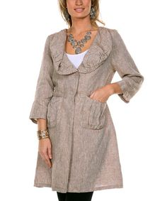 Another great find on #zulily! Mocha Flared Linen Jacket - Women & Plus #zulilyfinds