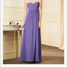 "Alfred Angelo 7289 Long Bridesmaids dress Worn once, size 6, unaltered, sweetheart Alfred Angelo Bridesmaids dress in color ""purple"". Stored in original AA bag with extra straps (not used) if you wanted extra support. This dress is still sold at AA and is very popular. Can be made short if you wanted to. Just needs dry cleaned. From smoke free home. Alfred Angelo Dresses"