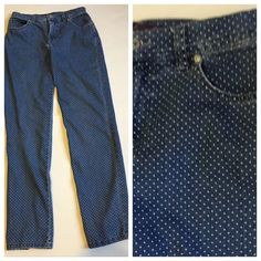 "Polka dot straight leg jeans size 4 PRICE FIRM Features: Cute white polka dot pattern.  Please note: Blue in jeans is a little lighter than it appears in the picture  Condition: Some fade, most visible at waist, on seams, and pocket edges.  Waist: 28""  Hips: 34""  Rise: 10""  Inseam: 29""  Waist to hem: 38""  Material: 72% cotton, 26% polyester, 2% spandex  Care: Machine wash cold. Tumble dry low  Smoke free, ferret friendly home Gloria Vanderbilt Jeans Straight Leg"