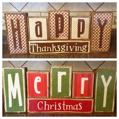Double Sided Happy Thanksgiving And Merry Christmas Wood Block Decor on Etsy, $27.95
