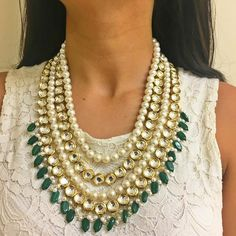 You say and we listen  We have amped up our Pearl and Green Princess necklace to give you the Pearl & Green II! Made of higher quality pearls and kundan pieces this is exactly what you asked for