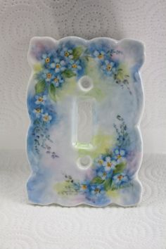 Blue Forget-me-nots Hand Painted on a Porcelain Single Switchplate