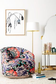 Anthropologie | Liberty for Anthropologie Feather Bloom Amoret Swivel Chair
