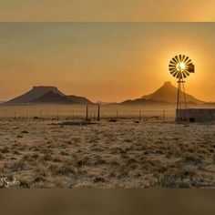 Photo by Rob Southey Photography. Climax Windmill in full sun, captured one winters morning in the Great Karoo, a thin layer of cloud diffuses the warm light after sunrise. Beautiful World, Beautiful Places, Beautiful Farm, Farm Windmill, Old Windmills, Out Of Africa, Thing 1, Le Moulin, Mellow Yellow