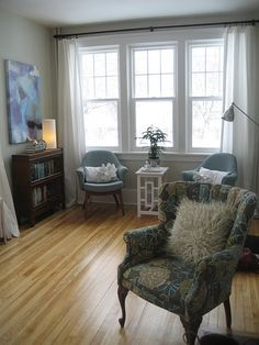 Light wood floors with light grey walls and white trim - literally painting every room in our new house this color.