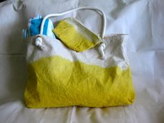 Yellow Ombre Beach Bag by RosannaMade on Etsy, $44.99