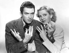 """Jimmy Stewart and Jean Arthur in a publicity photo for """"Mr. Smith Goes to Washington"""" (1939)"""
