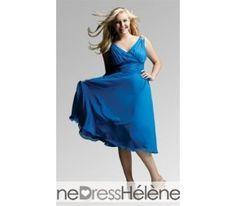 Blue Plus Size V-Neck Cocktail Dresses