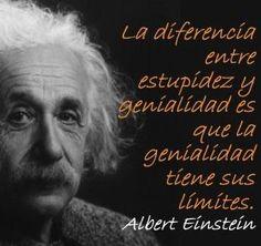 Albert Einstein. La diferencia entre estupidez y genialidad es que la genialidad tiene sus límites.