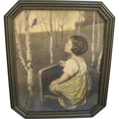 Spring Song Print in Octogonal Period frame Offered by Antique Beak Ruby Lane shop