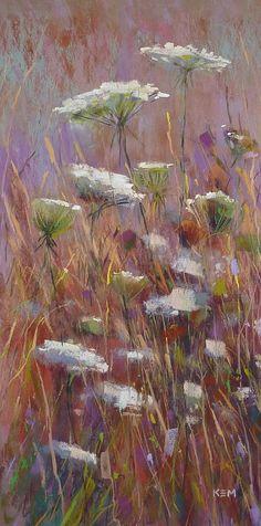 Queen Annes Lace Meadow Wildflower Landscape Original Pastel Painting Karen Margulis 10x20