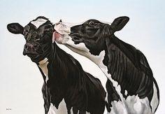 "Saatchi Art Artist: Clara Bastian; Oil 2013 Painting ""Two cows 2747"""