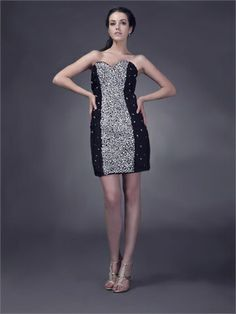 Column Strapless Sweetheart with Beadings Corset Back Short Homecoming Dress HD1974 www.homecomingstore.com $138.0000