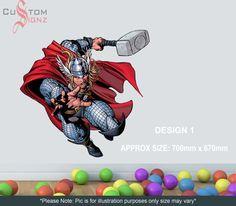 Large Thor Marvel Wall Sticker Art Vinyl Mural Full Colour Custom Sizes Available sur Etsy, $21.56 CAD