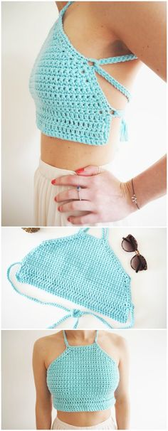 Free Crochet Top Patterns To Hit This Season I have made a big list of free for your inspiration. This list is contained links and details of each pattern! Crochet Halter Tops, Crochet Summer Tops, Crochet Bikini Top, Sewing Clothes Women, Crochet Clothes, Crochet Dresses, Crochet Shawl, Knit Crochet, Diy Crochet Top