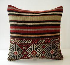 Sukan / Organic Shine Society Modern Bohemian Throw Pillow. Handwoven Wool Vintage Tribal Turkish Kilim Pillow Cover- 16x16 inch